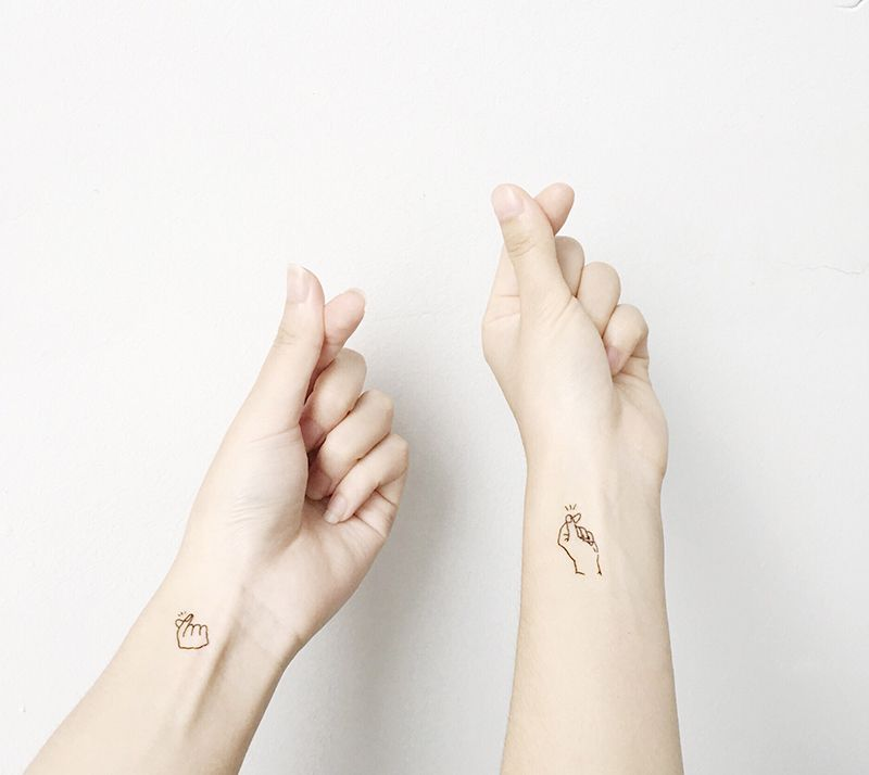 Love You Quote Tattoo Kpop Hot Finger Heart Gestures Small Tattoo