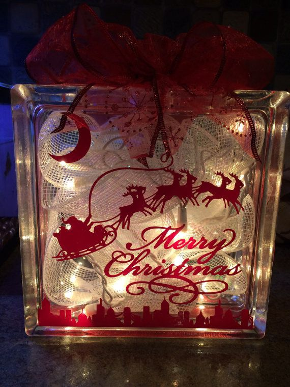 Lighted christmas glass block decoration by scooperscreations diy pinterest christmas - Glass block decoration ideas ...