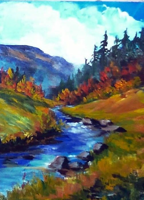 Mountain Stream This Painting Was Recorded In Two Parts So Find Part 1 First Gingercooklive Art Easy Landscape Paintings Mountain Paintings Art Painting