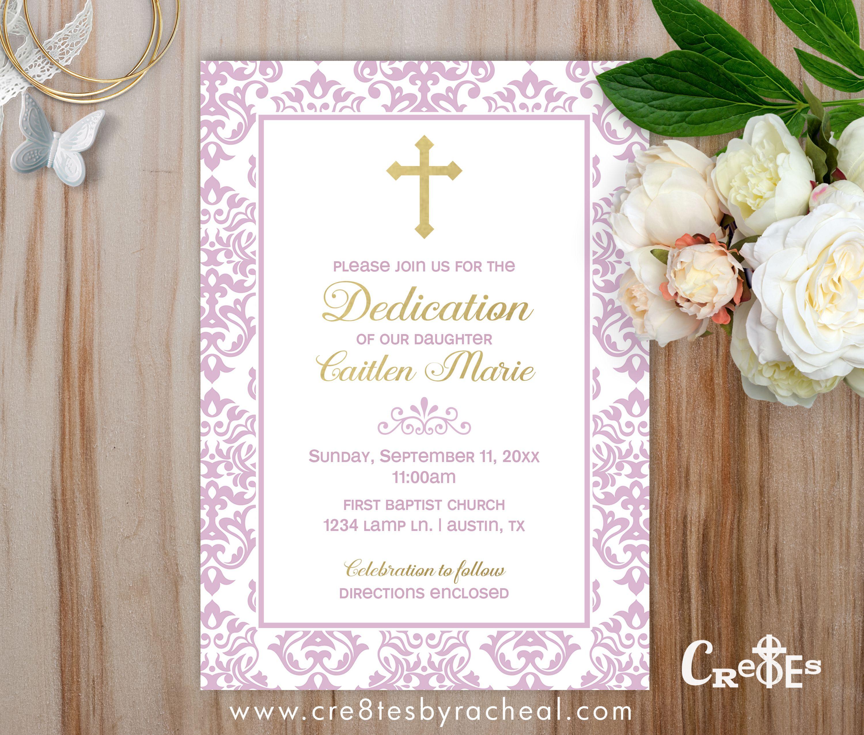 BABY GIRL DEDICATION BAPTISM INVITATION PINK DAMASK AND GOLD ...
