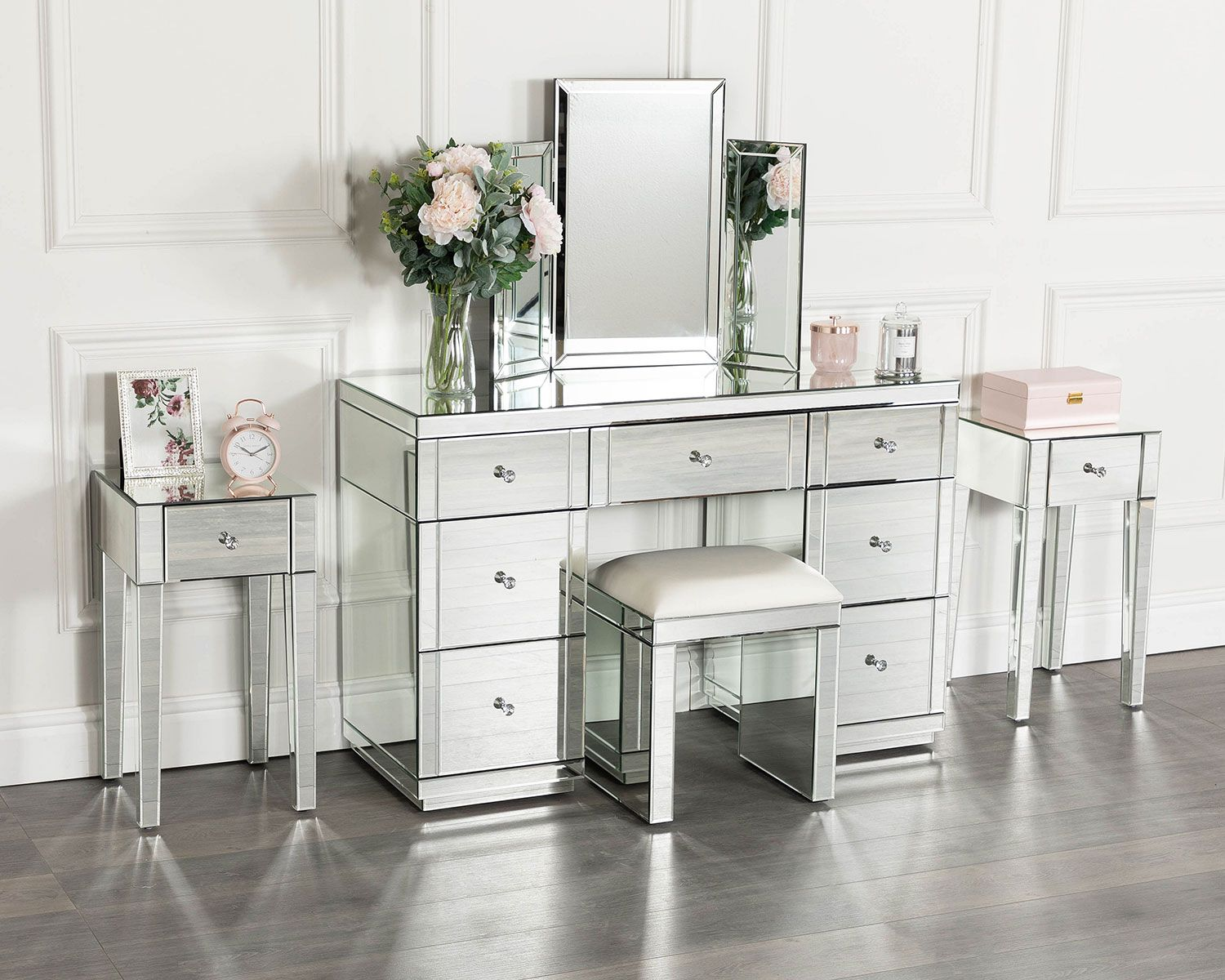 Silver Mirrored Dressing Table Set With 2 X 1 Drawer Bedside
