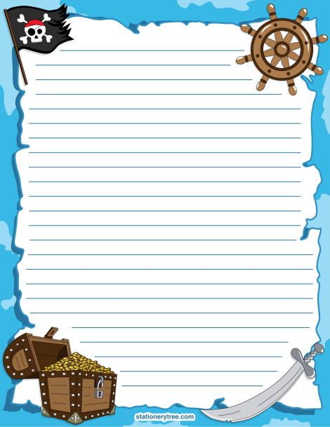 Printable pirate stationery and writing paper. Free PDF downloads at ...
