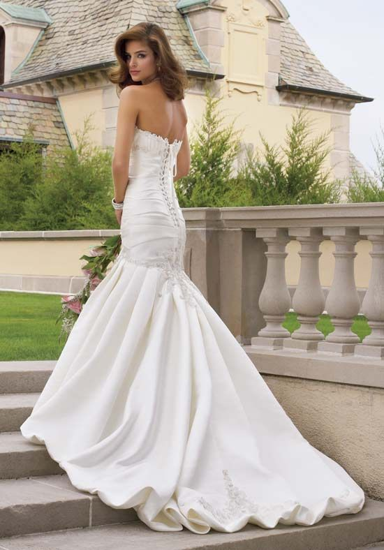 Fit-N-Flare Strapless Floor Length Attached Satin Beading really ...