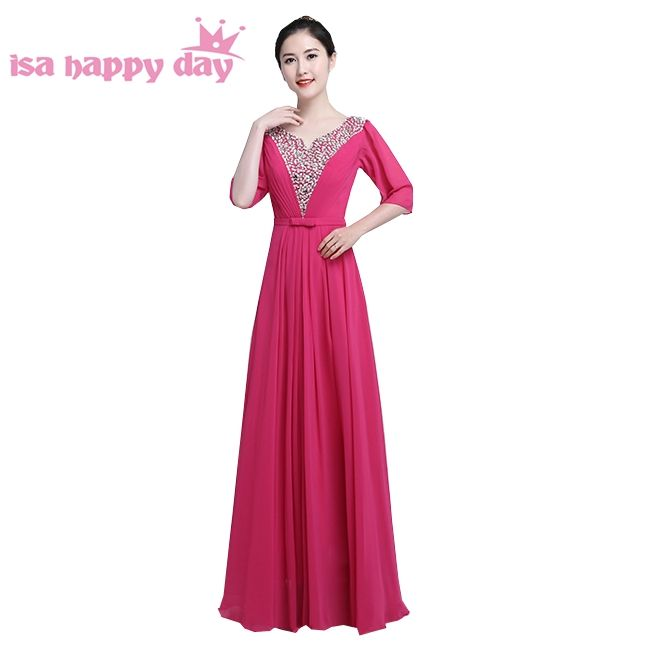 fuschia colored formal royal blue long chiffon brides maids sleeved ...