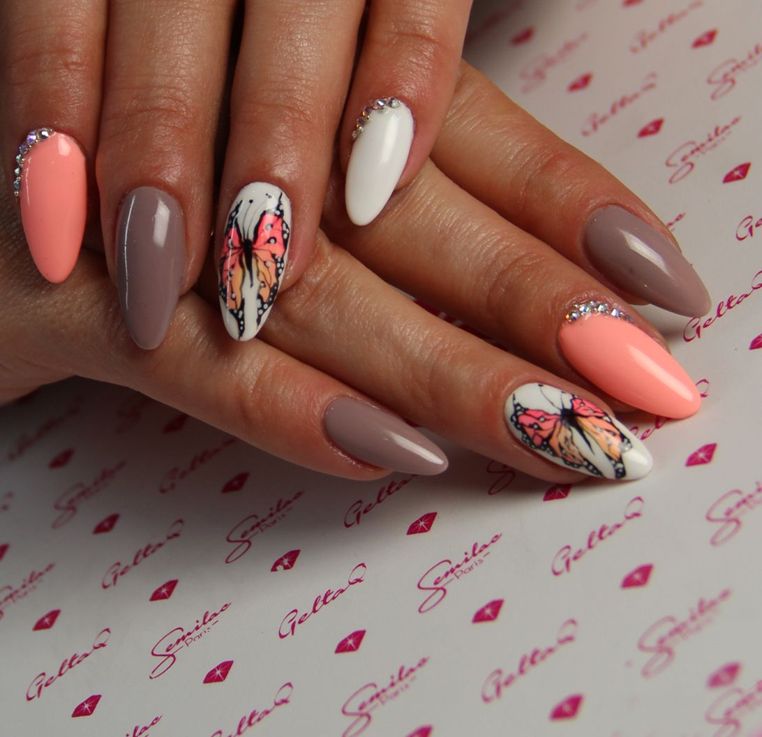 Butterfly Semilac Nails With Images Ladne Paznokcie