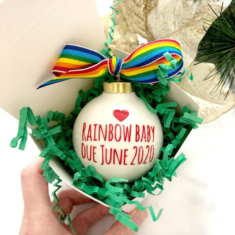 Rainbow Baby Ornament Rainbow Baby Pregnancy Announcement Christmas Ornament Pregnancy Reveal Idea Baby Announcement Ornament