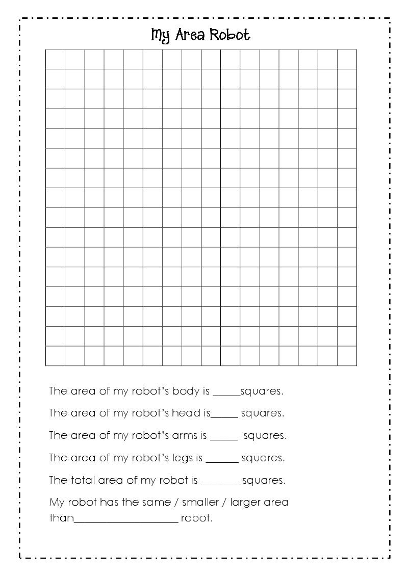 Good Morning Mrs. Rubie: \'Area Robots\' Worksheet and Classroom Book ...