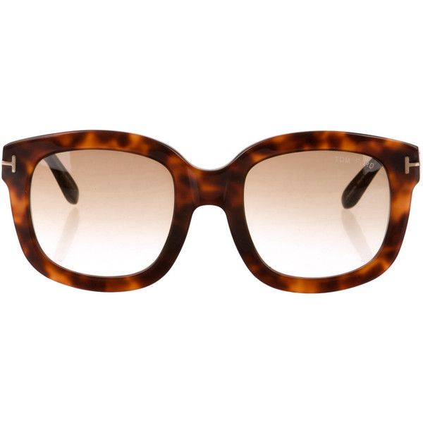 Tom Ford Tortoiseshell Oversize Sunglasses ($145) ❤ liked on Polyvore featuring accessories, eyewear, sunglasses, brown, oversized sunglasses, tom ford eyewear, brown tortoise shell glasses, tortoiseshell glasses and tortoise glasses