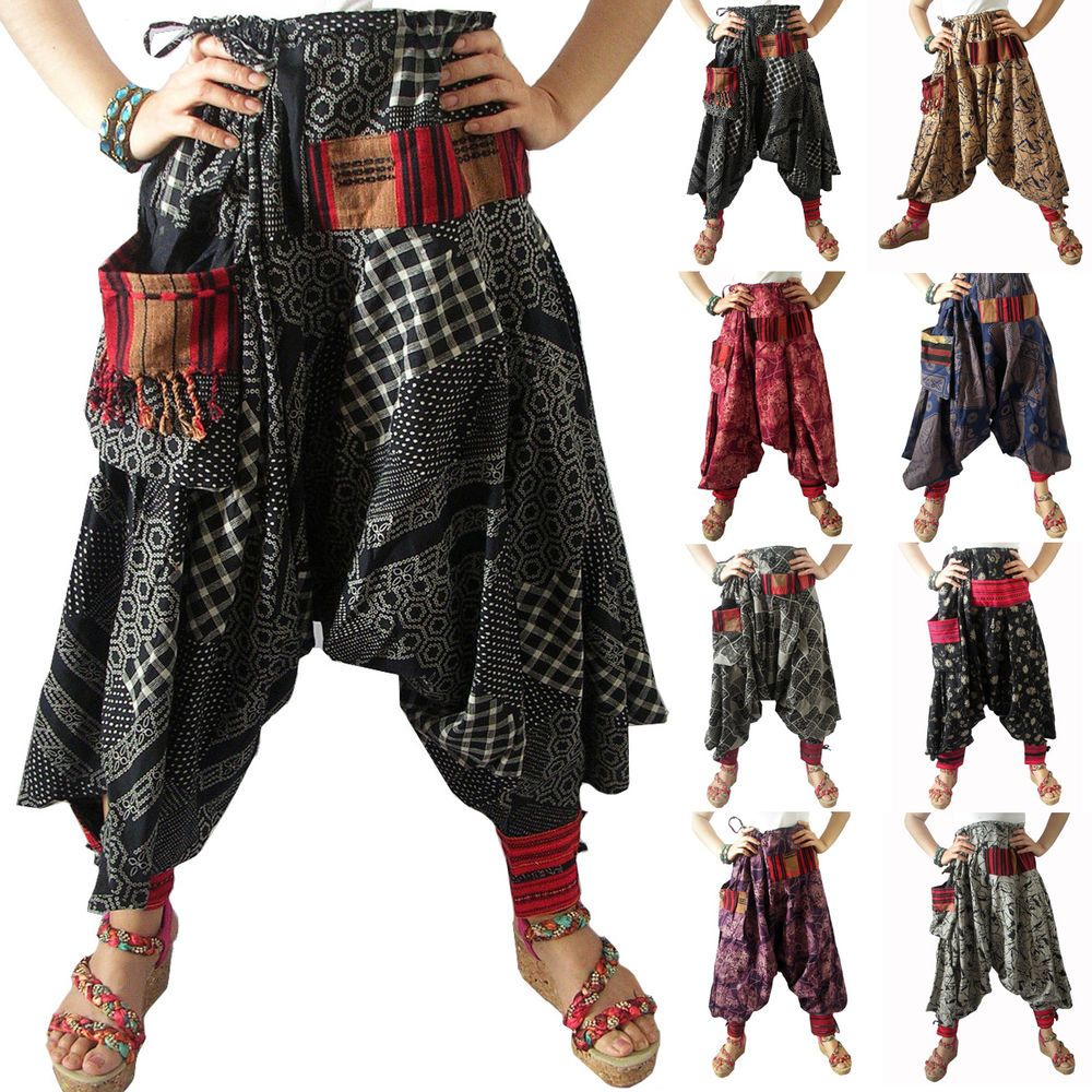 Womens Mens Harem Drop Crotch Pattern Pants Gypsy Hippie Aladdin Hmong Aladdin Drop Crotch