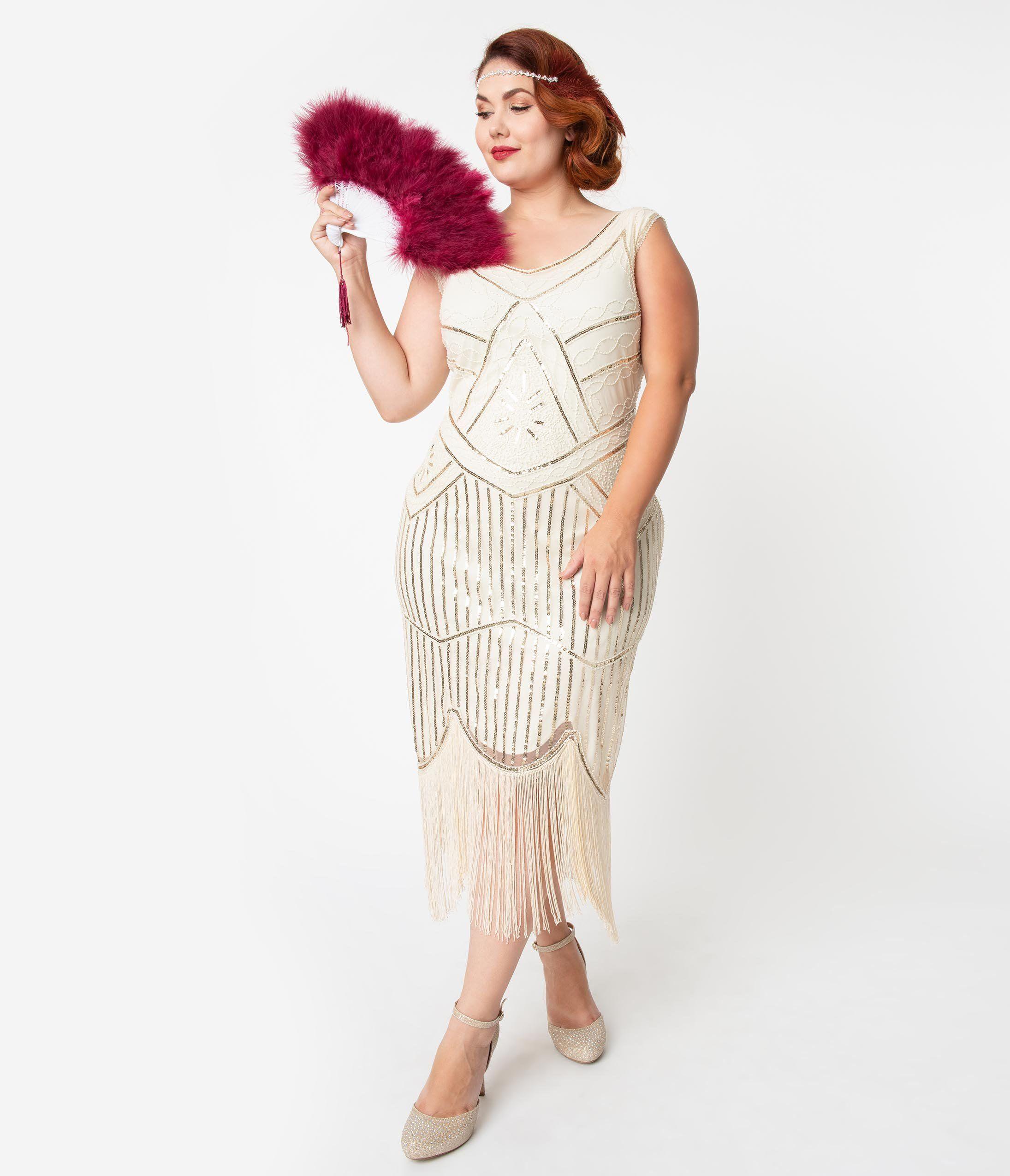 Plus Size Cream & Gold Beaded Leonie Fringe Flapper Dress