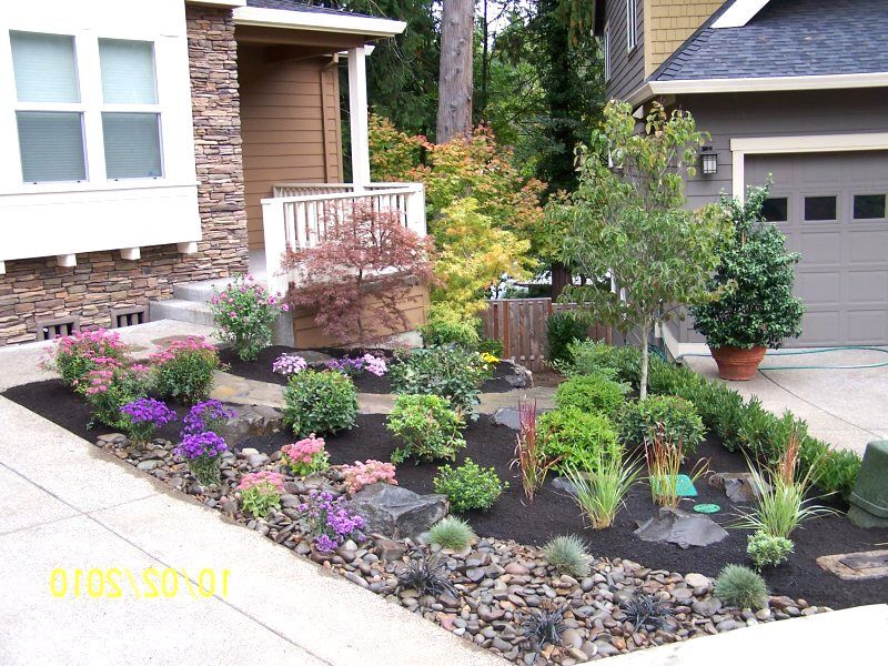 Small front yard landscaping ideas no grass garden design for Easy care landscape design