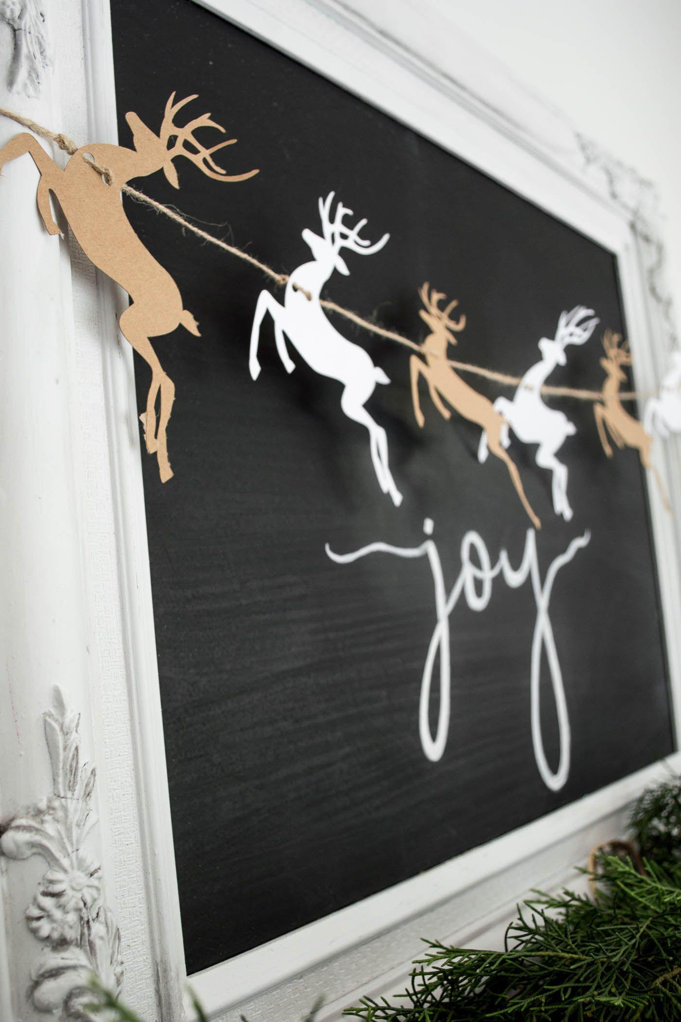Free Christmas printable DIY Reindeer garland