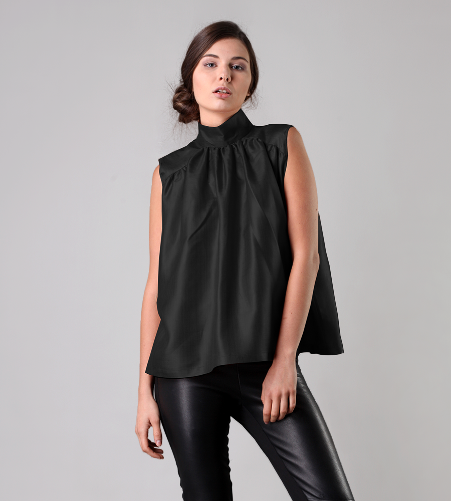 Cotton / silk blouse, sleveless