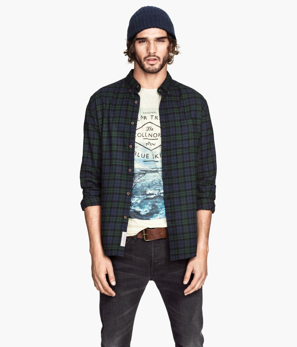 Cotton flannel shirt in green, blue, and black plaid, with button ...