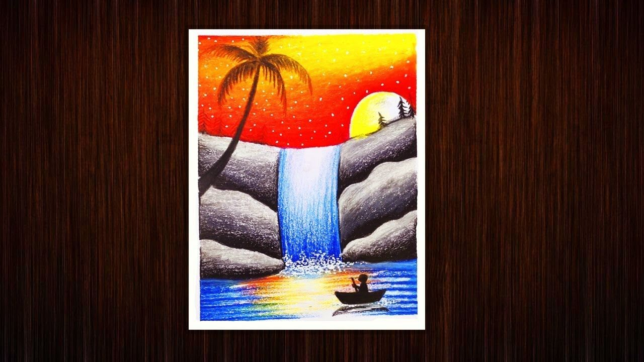 Waterfall Painting Tutorial With Oil Pastel Color Afternoon Landscape D Oil Pastel Colours Waterfall Paintings Painting