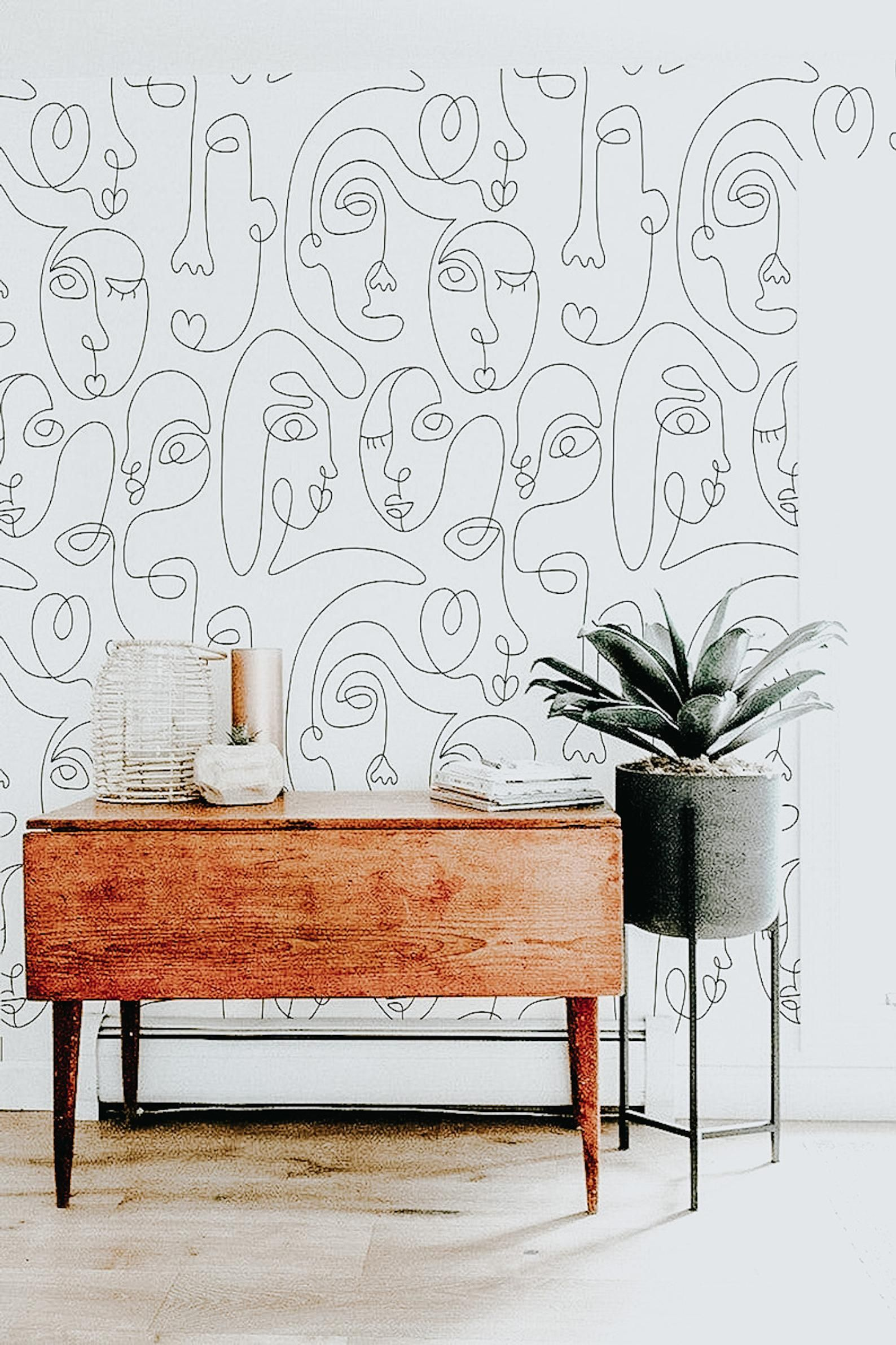 One Line Drawing Peel and Stick Wallpaper   Abstra