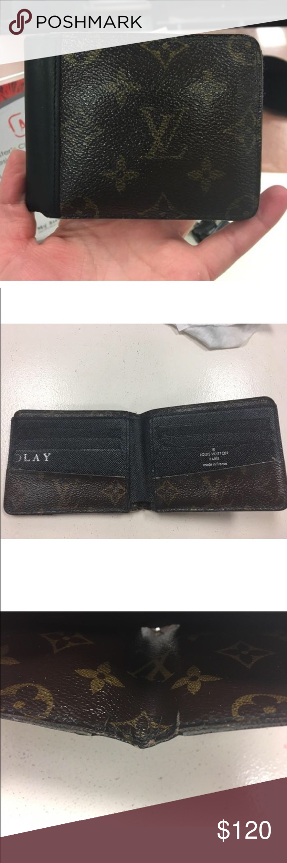 Louis Vuitton Monogram Men's Wallet This is a men's bifold wallet that has some wear pictured and has initials on the inside. Louis Vuitton Bags Wallets