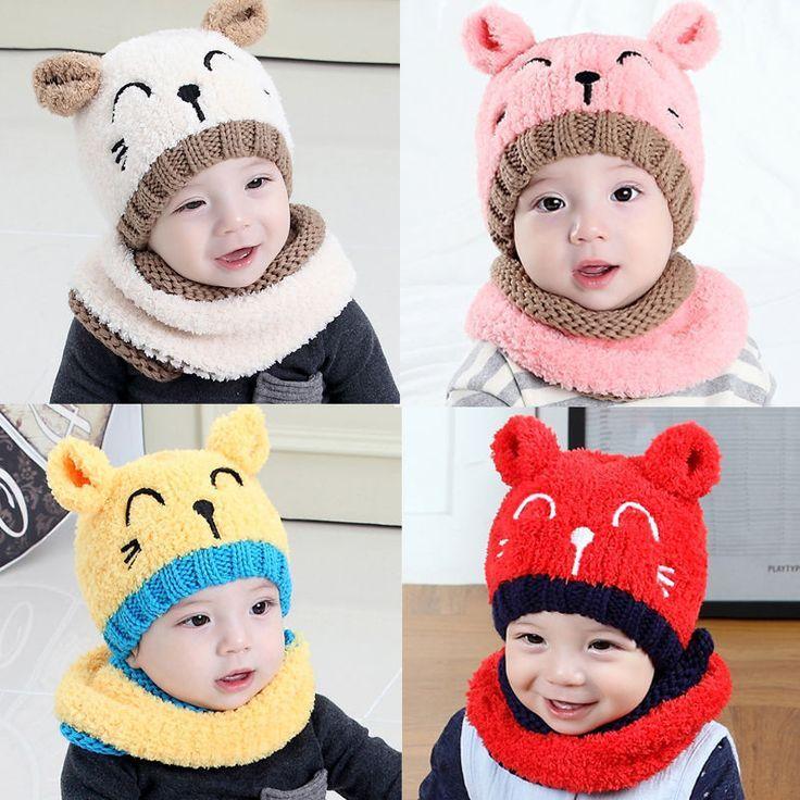 Kinder warme Winter Hut Mütze Haube Wollschal für Kleinkind jungen Mädchen Baby