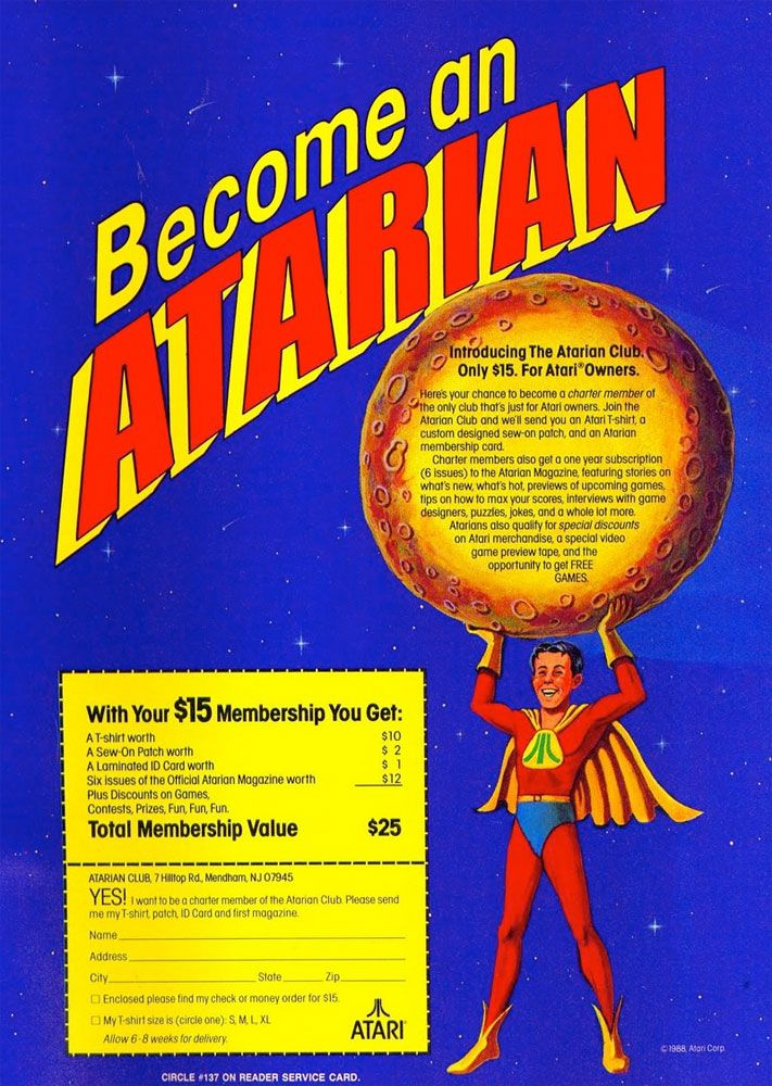 """Many gamers originally began joining the Atarian movement in 1988 when Atari began promoting this """"club"""" to expand awareness of the Atari brand and maintain interest in the 2600, 7800 and XE Computers. For $15 you received a t-shirt, patch, membership card and 1- year (six issues) subscription to the Atarian Video Game Magazine. They began with the May/June 1989 issue.  Read more: http://www.8-bitcentral.com/blog/2014/atarian.html#ixzz2r2W0EL15"""