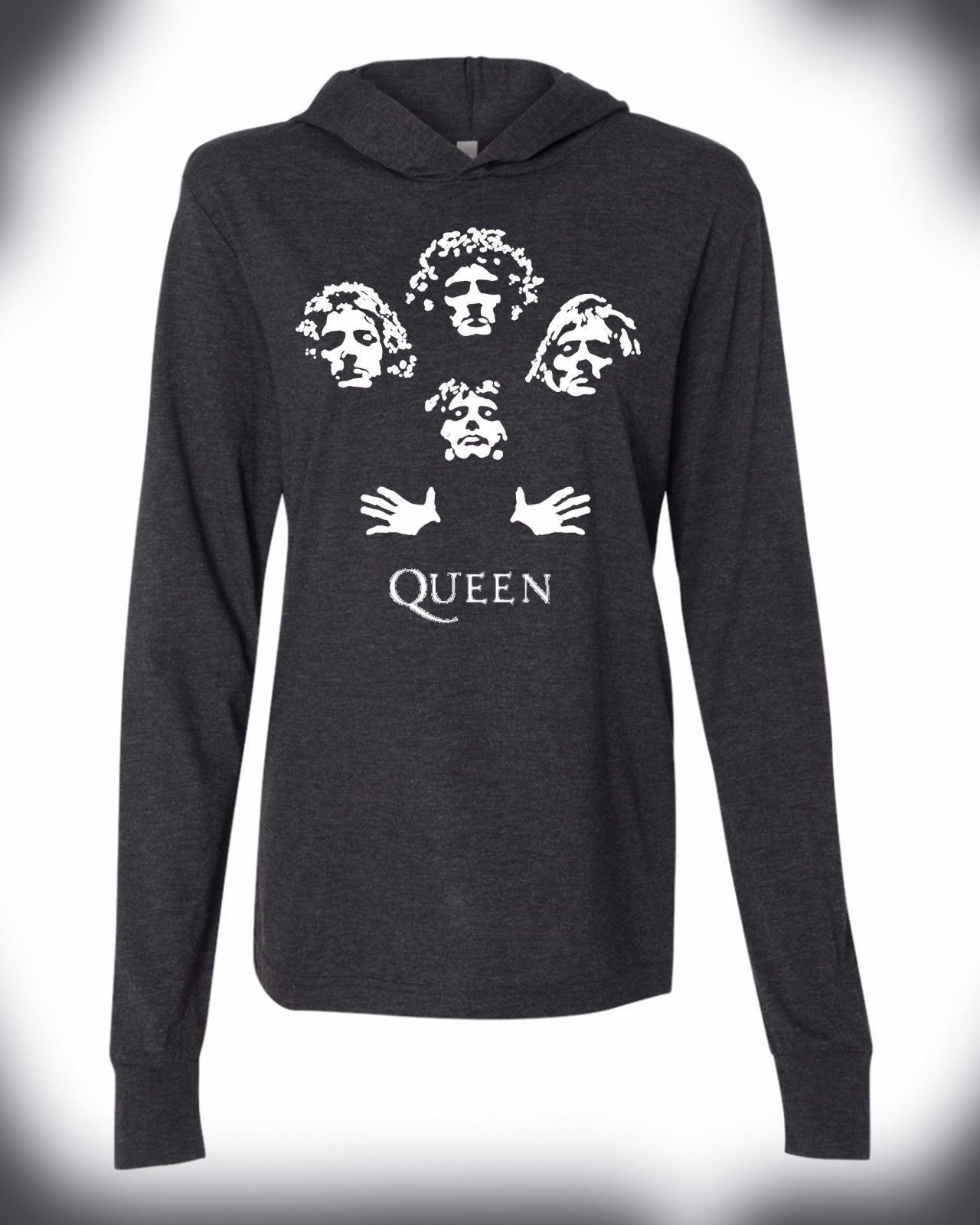 c2f6757e4 Queen Rock Band Hoodie Bohemian Rhapsody Freddie Mercury Vintage Throwback  Logo