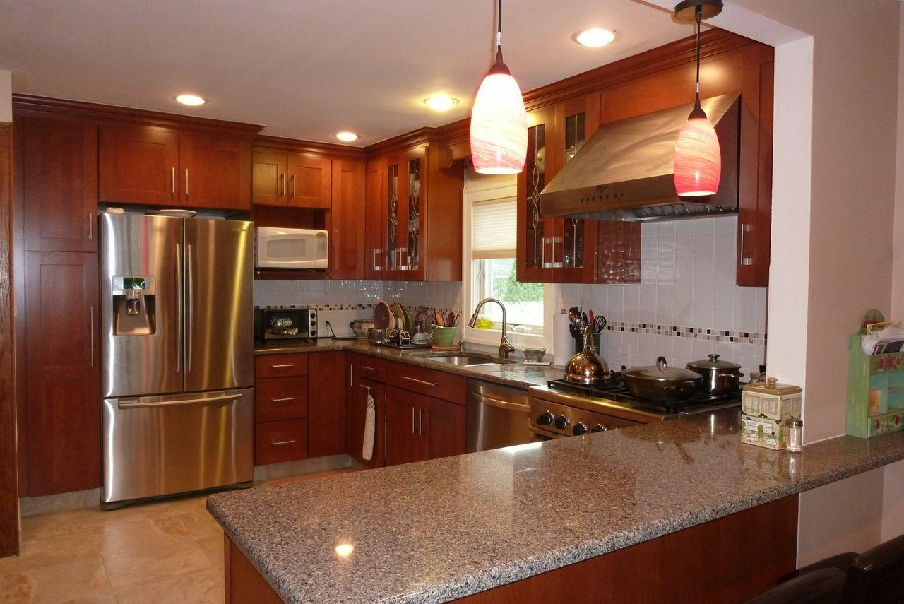 modern kitchen, stainless steel appliances, granite