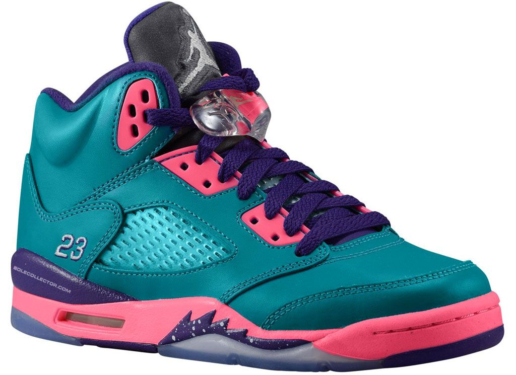 cheap for discount c7064 1d3d0 Air Jordan Retro 5 (V) (GS) - Teal, Pink   Purple
