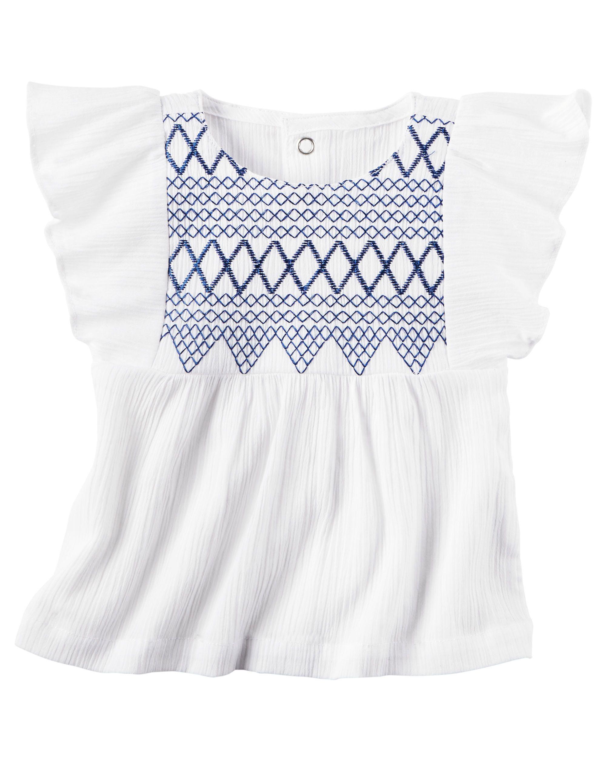 12m, White Carters Baby Girls Embellished Twill Shorts