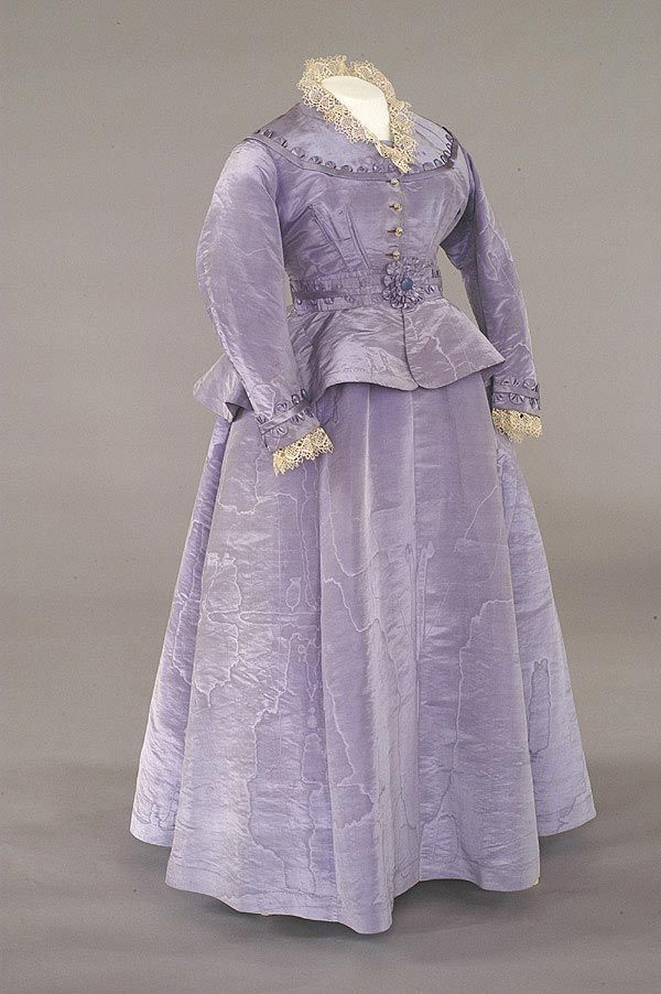 1874 Wedding Dress In Lilac Watered Silk Trimmed With Matching