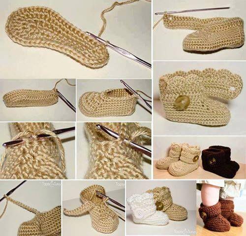 botinhas de crochê