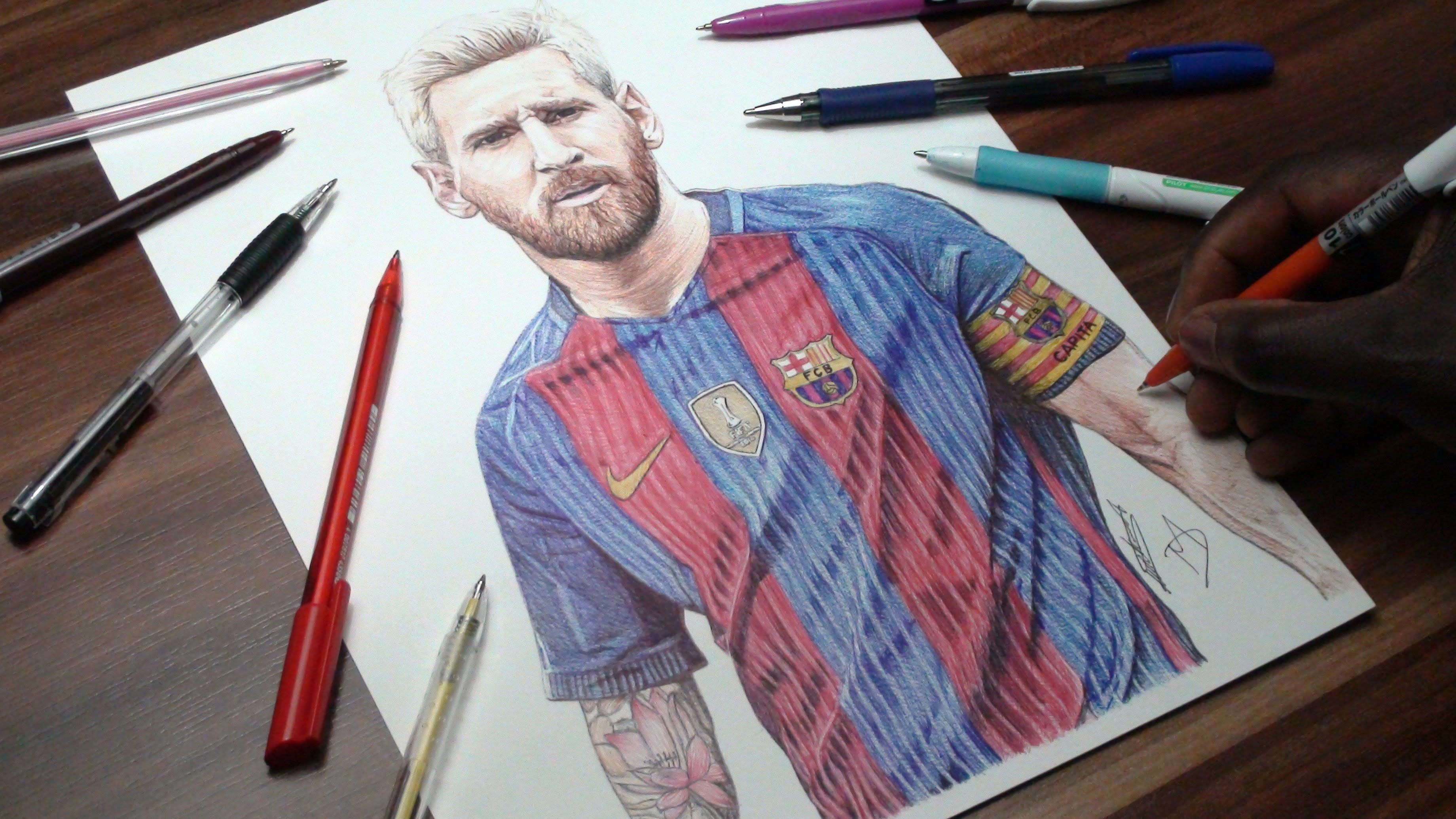 Messi drawing fc barca demoose art