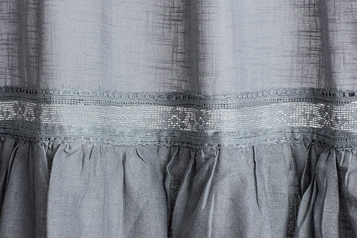 Sofia Frost Grau Vorhang Gardine mit Volant ca 145cmx250cm