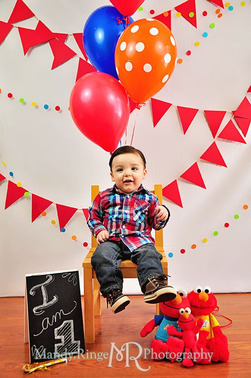 Boys first birthday Elmo theme Red pennant banners