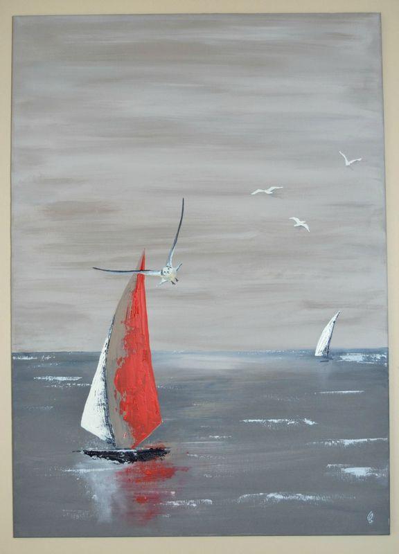 En vol - Gustave à la mer | Peinture de voilier,