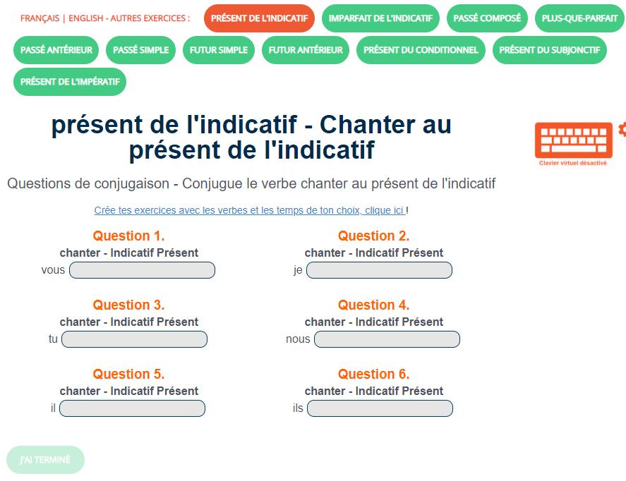 Exercice De Conjugaison Chanter Au Present De L Indicatif Exercices Conjugaison Verbe Jeux Educatifs En Ligne