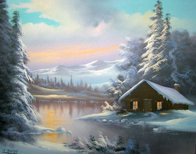 Original Painting Mountain Cabin By Lionel Dougy