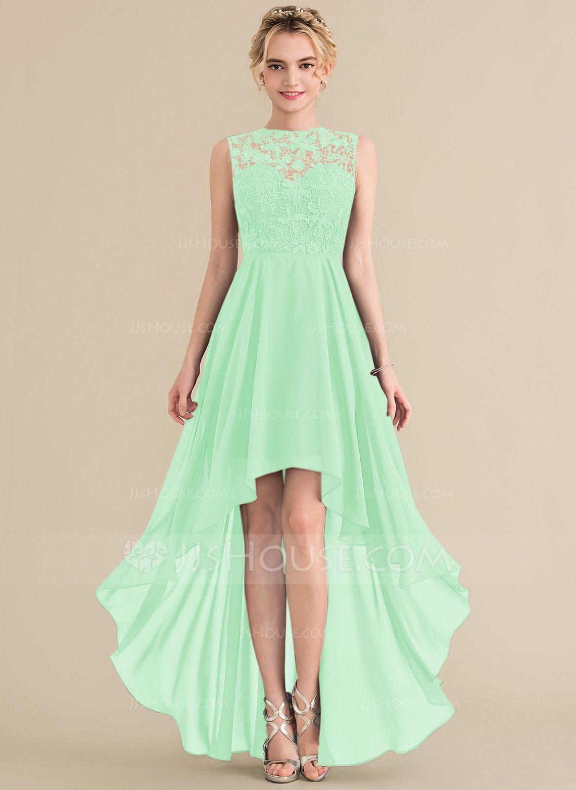ALine/Princess Scoop Neck Asymmetrical Chiffon Lace
