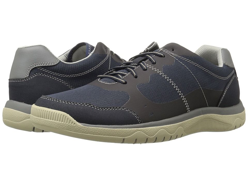 CLARKS CLARKS - VOTTA EDGE (NAVY SYNTHETIC/TAUPE) MEN\u0027S LACE UP CASUAL SHOES
