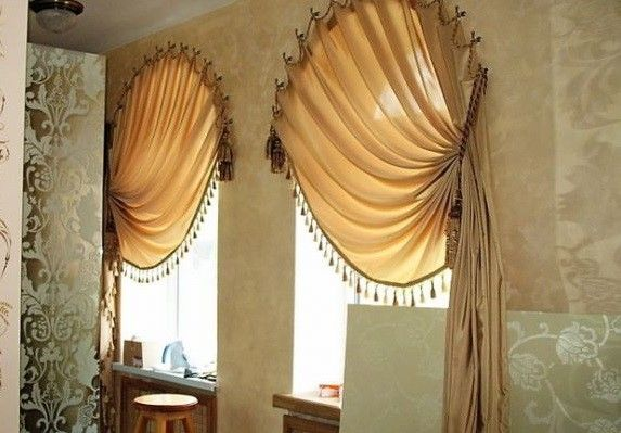 modern beige arched window curtains for treatment
