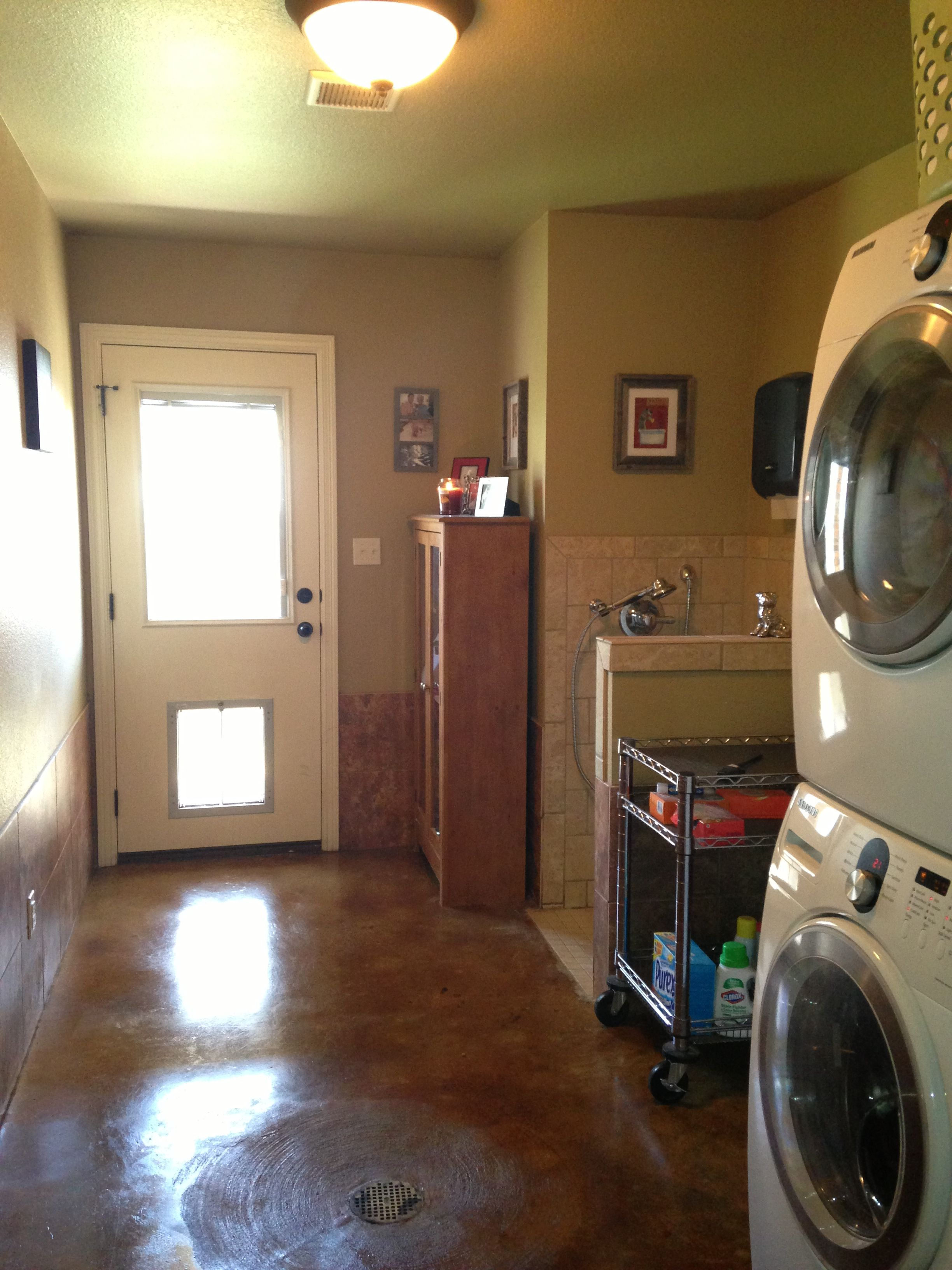 Dog Room Laundry Room With Concave Stained Concrete Floor With