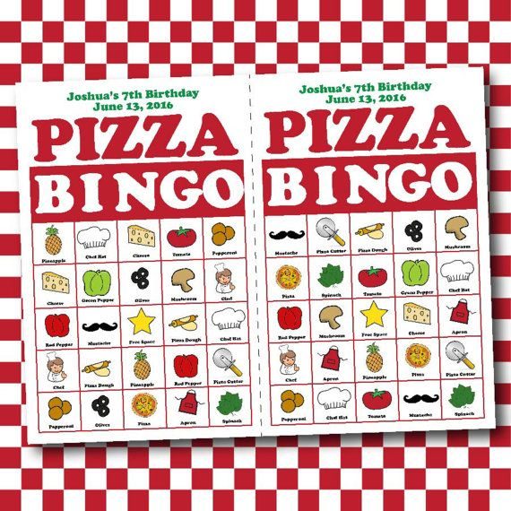 Play a round a bingo while you wait for the pizza to bake! I created these fun pizza theme bingo cards for a kids birthday party. WHAT YOU WILL RECEIVE:  • Personalized bingo cards which include the event, birthday boy or girls name, age and date. • Set of 12 unique bingo cards. The size of each card is 4.25 x 5.5 and prints 2 to a page. • 30 Caller cards • PDF Page with 108 3/4 inch round pizza labels. These have a variety of uses. Use a hole punch to create game chips. Or print them ou...