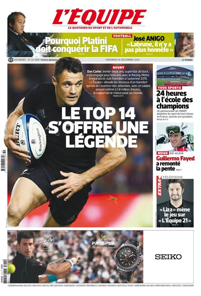 L'Équipe - Vendredi 19 Décembre 2014 - N° 22068