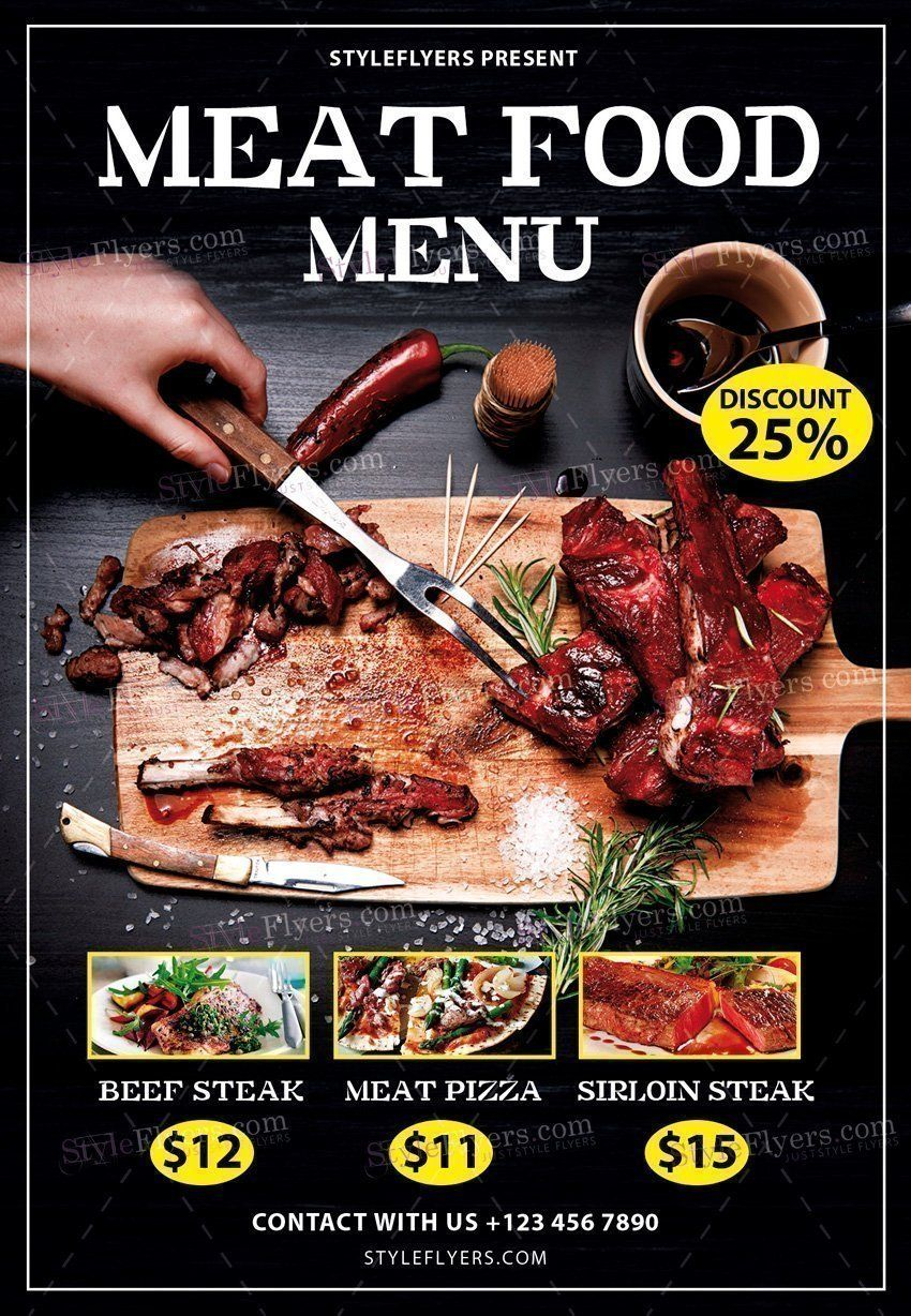 Meat Food Menu Psd Flyer Template  Food Flyers    Meat