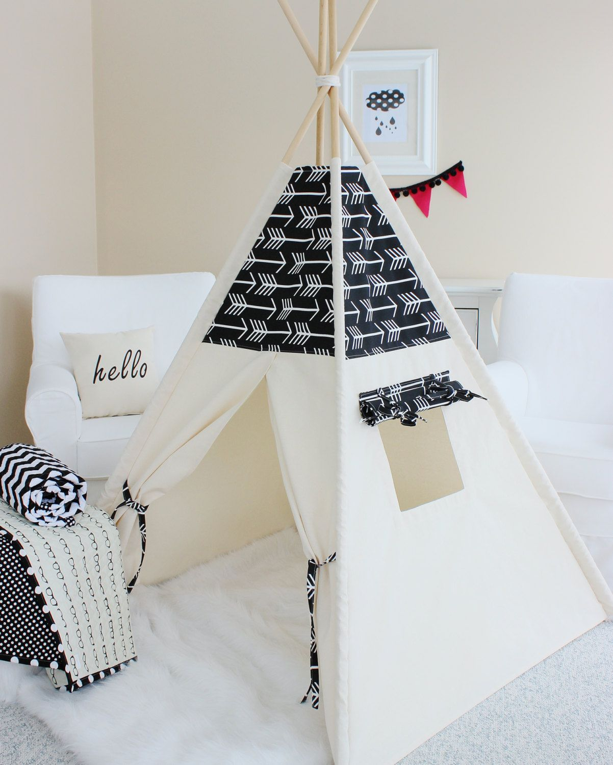 Tipi Spelling: BLACK ARROWS And Natural Canvas Teepee Play Tent By