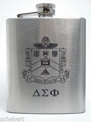 Delta Sigma Phi Fraternity Laser Engraved Crest Eight Ounce Brushed Stainless…