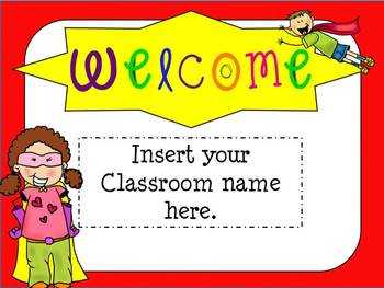 open house super hero themed powerpoint template | school opening, Powerpoint templates