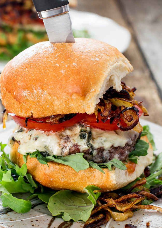 Blue Cheese and Crispy Fried Onion Burger