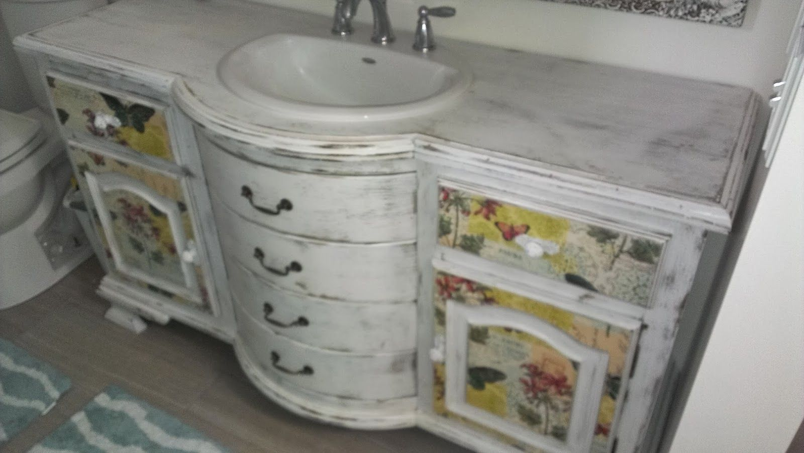 How to Decoupage A Bathroom Vanity (or other furniture