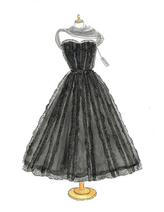 Watercolor Chanel Dress Fashion Illustration Vintage Chanel Print