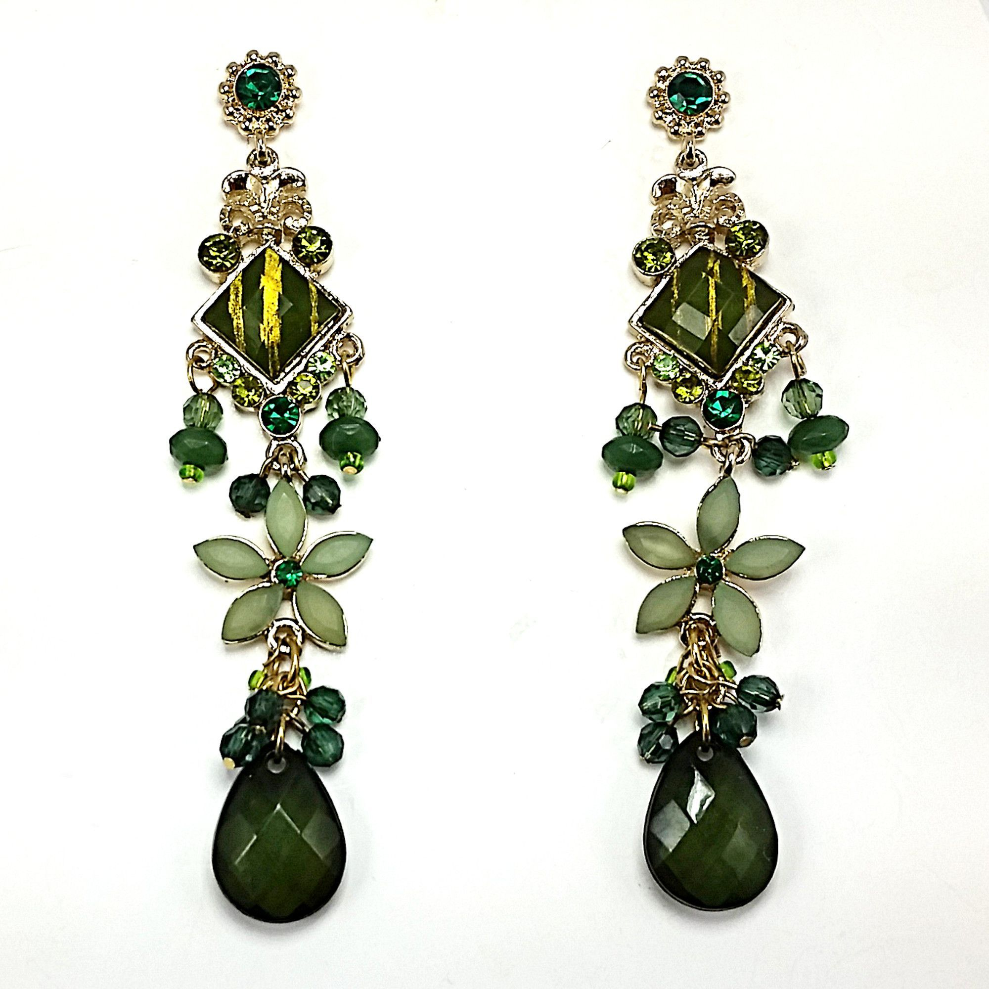 Floral Drop Earrings Rhinestone Gold Tone Blue Green Red Dangle ce01