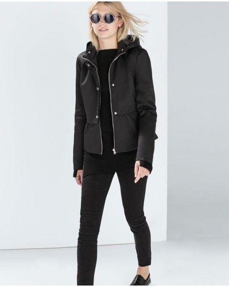 vintage black hooded cotton coat elegant zipper pocket long sleeve jacket